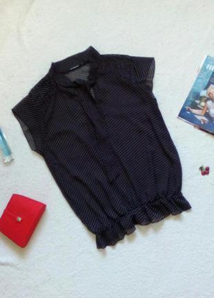 Шифоновая блуза/блузка/кофточка с бантом в горошек