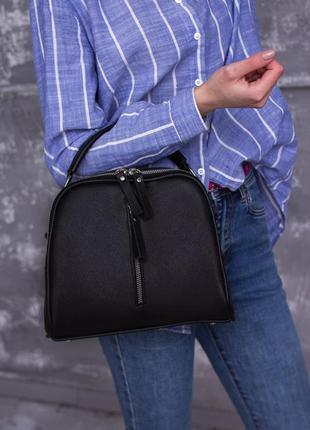 Женская черная сумка из мягкой кожи, клатч на длинном ремешке