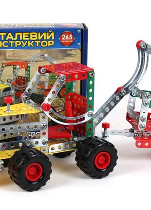 """Конструктор металлический """"Трактор с прицепом"""", 265 дет"""