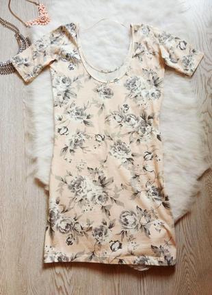 Бежевое розовое мини платье майка футболка цветочный принтрису...