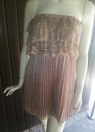 Платье с кружевом шифон плиссе