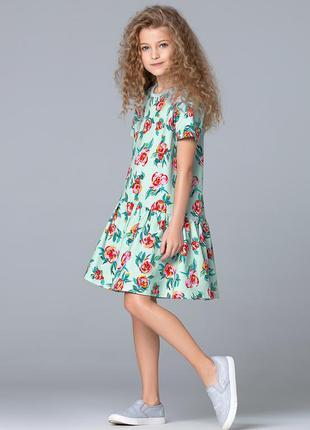 Платье из футера с флоральным принтом для девочки, 100% хлопок