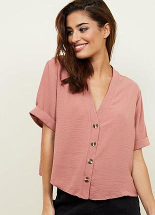 Укороченная пудровая блузка new look размер 16