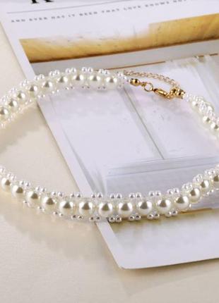 Стильное жемчужное ожерелье цепочка