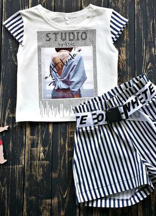 Стильный летний костюм для девочек, топ и шорты