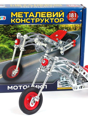 """Конструктор металлический """"Мотоцикл ТехноК"""", 181 деталь"""