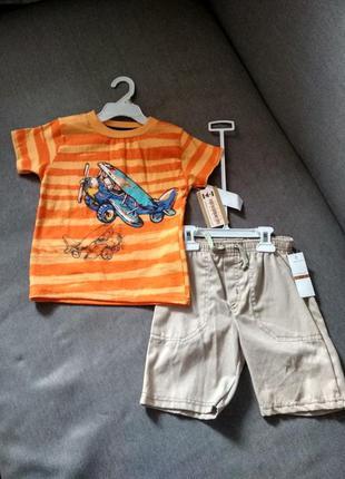 Комплект летний kids headquarter - шорты и футболка мальчику н...