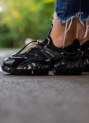 Jimmy choo  london black женские стильные кроссовки