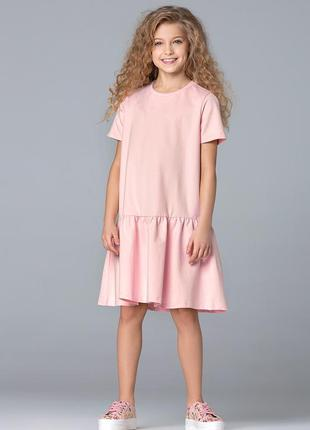 Платье из футера для девочки, цвет розовый 100% хлопок.