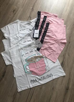 Комплект пижамы футболка шорты