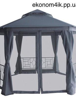 Павильон садовый с плотной ткани, стальной каркас + шторки+ сетка