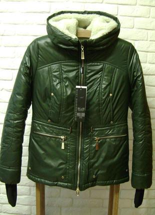 Женская теплая куртка зима парка Milhan хаки зимняя.