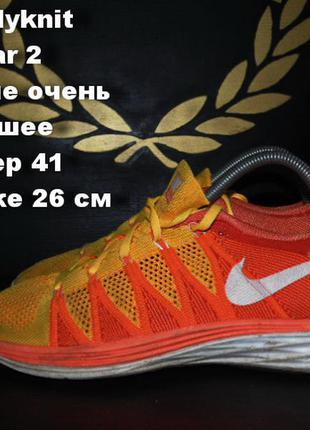 Nike flyknit lunar 2 кроссовки яркие размер 41