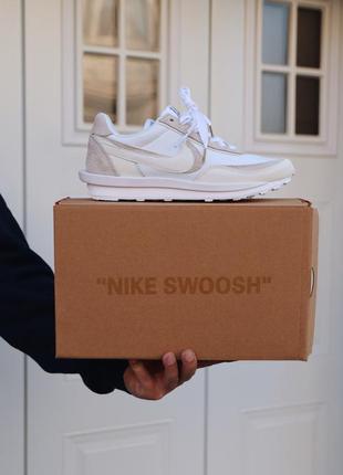 Nike sacai white, мужские белые кроссовки найк