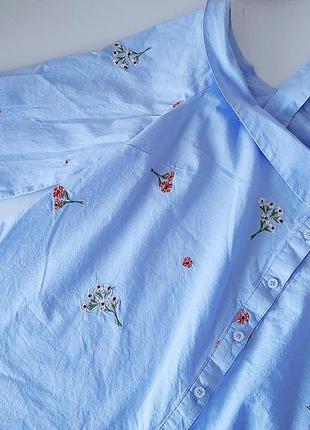 Трендовая полосатая блуза с цветочной вышивкой