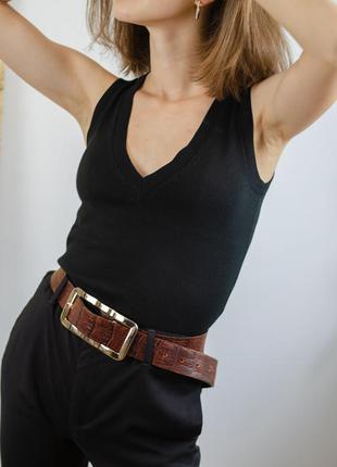 Zara черный актуальный базовый трикотажный топ, майка с v-вырезом