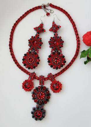 Вечерние украшения - серьги и ожерелье «красный»
