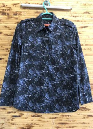 Брендовая рубашка britt sisseck синего цвета оверсайз