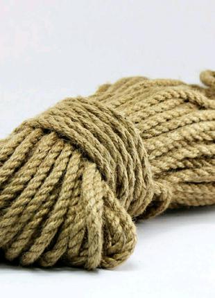 Веревка джутовая 8 мм 50 метров канат джутовый