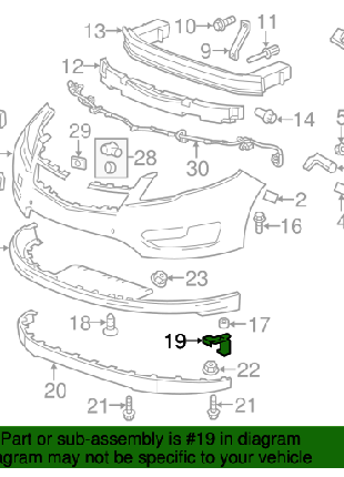 Крепление губы переднего бампера левое правое Chevrolet Volt 11-1