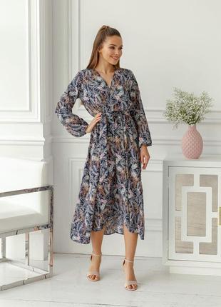 Женское платье с запахом и поясом цветочный принт