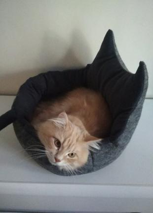 """Спальное место для кота с подушкой """"Корзинка"""" серое"""