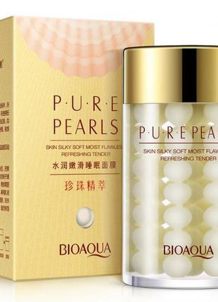 Ночная крем - маска для лица с жемчужной пудрой bioaqua pure p...