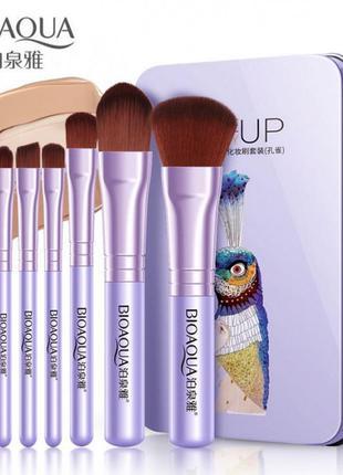 Набор кистей для макияжа в металлическом футляре 7шт BIOAQUA