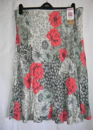 Новая натуральная легкая летняя юбка большого размера