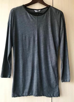 Темно-серый джемпер, лонгслив с кожаной отделкой pull&bear / l