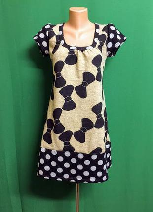 Оригинальное тёплое мини платье-туника lemon
