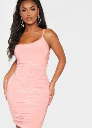 🎈нас 10 тысяч🎈happy sale🎁  светло розовое мини платье в складк...