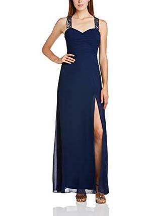 Вечернее платье синее выпускное длинное в пол с разрезом на но...