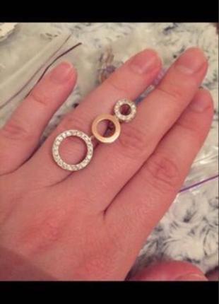 Серьги кольца серебро с золотом