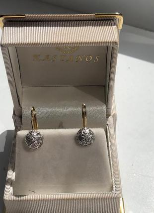 Продам золотые серьги с бриллиантами 18 каратов