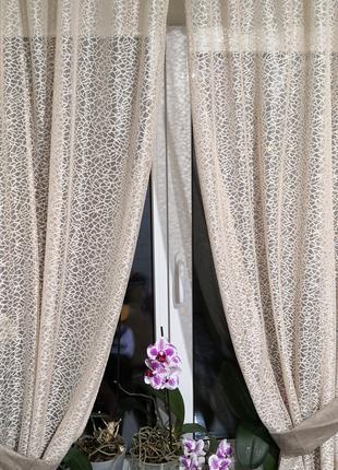 Занавеска штора тюль две половинки с подхватами и верхушкой кофе