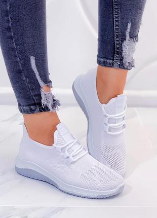Белые текстильные кроссовки, белые летние кроссовки из текстиля