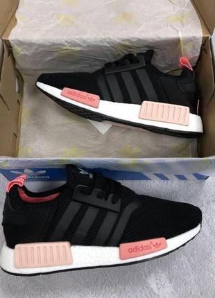 Adidas nmd black pink женские стильные кроссовки