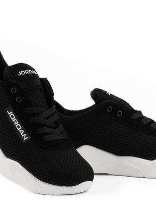 Мужские кроссовки текстильные летние черные-белые Jordan