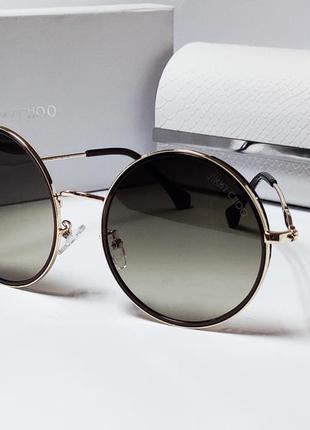 Стильные женские очки кругляши коричневые