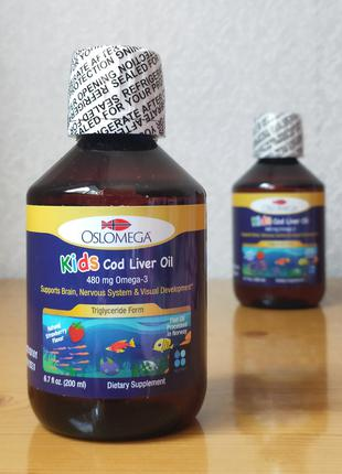 Oslomega, жир печени трески для детей, клубничный вкус, 200 мл