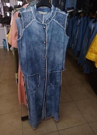 Довга джинсова безрукавка