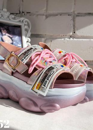 Босоножки спорт на платформе, сандали розовые перламутровые