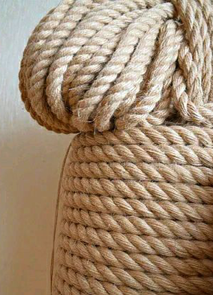 Веревка джутовая 16 мм 50м канат джутовый