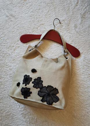 Кожаная мягкая сумка - мешок сумка торба бежевая индия сумка т...