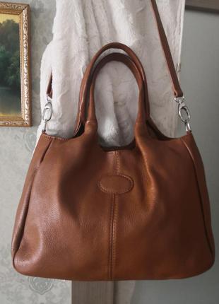 Большая кожаная сумка borse in pelle, италия👜👜💥💥🔥