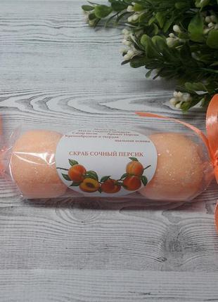 Сахарный скраб ручной работы сочный персик 100 г.