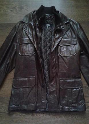 Куртка мужская кожаная коричневая размер м