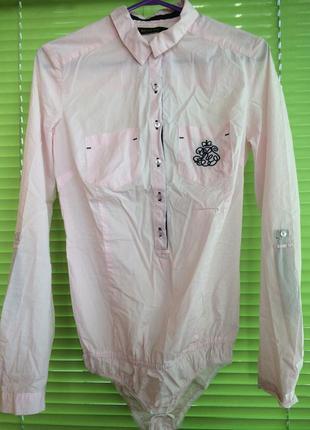Рубашка-боди розовая в полоску