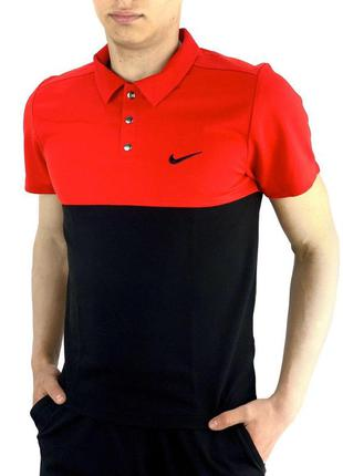 Футболка поло мужская черно-красная в стиле nike (найк)